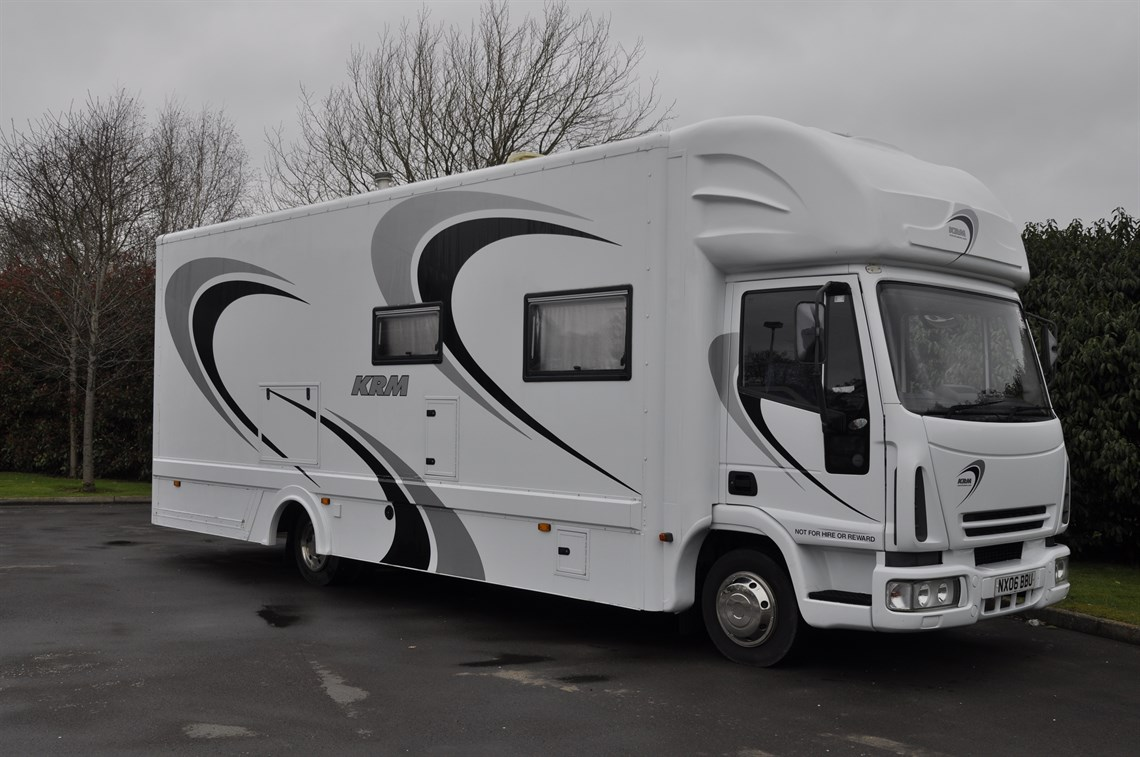 Krm race motorhome 2 cars for Rv with car garage for sale